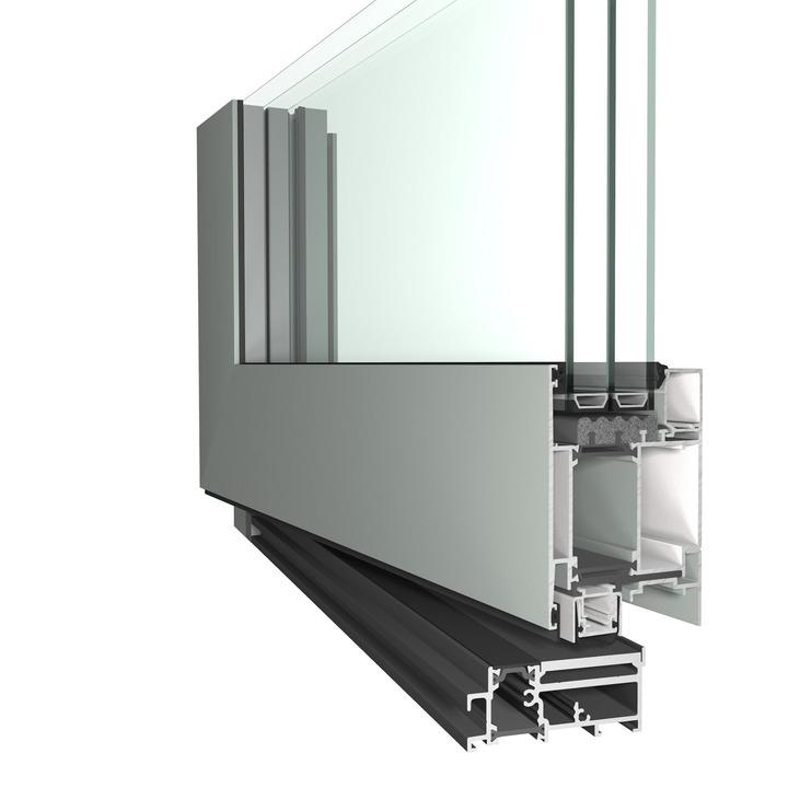 masterline 8 residential pivot door glass detail opened